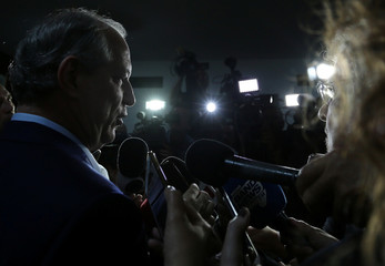 Presidential candidate Ciro Gomes of the Democratic Labour party (PDT) talks with journalists at the Brazilian Academy of Sciences in Rio de Janeiro