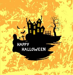 Happy Halloween Poster with Brushes Castle and Scary Graveyard
