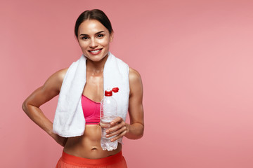 Drink Water. Sport Woman Holding Bottle With Water