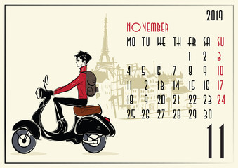 November. Calendar with fashion girl in sketch style.