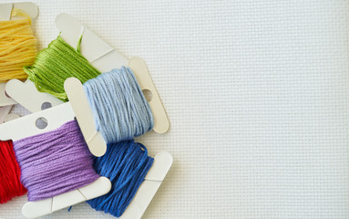 Aida and colorful threads