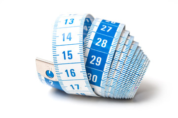 closeup of measure sewing meter on white background