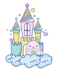 cute female mouse in the castle and clouds