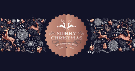 Merry Christmas copper luxury deer label card