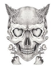 Art Surreal Devil Skull Tattoo. Hand pencil drawing on paper.