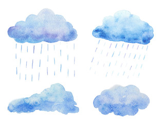 Watercolor set with rain clouds.