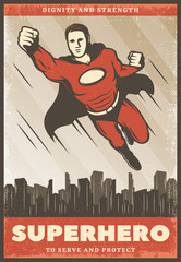 Vintage Colored Superhero Poster