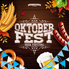 Oktoberfest Banner Illustration with Typography Lettering and Fresh Beer on Vintage Wood Background. Vector Traditional German Beer Festival Design with Wheat, Pretzel, Sausage, Hop and Autumn Leaves