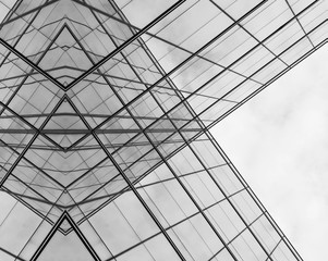 Perspective of modern glass window at skyscrapers - monochrome