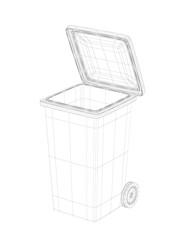 3D wire-frame model of trash bin.