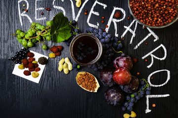 food rich with resveratrol, grapes, plums, goji, peanuts, cranberry,raspberrys, dark chocolate,red wine