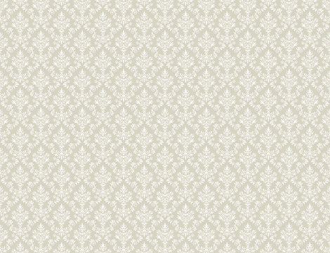 Brown gold wallpaper with white damask pattern