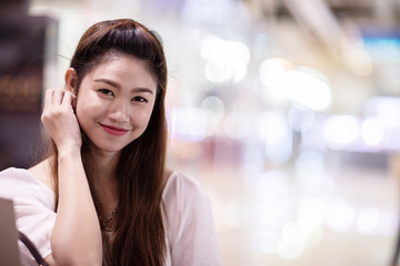 Portrait of Beautiful Attractive Asian woman smile feeling so happiness and comfortable,Beauty Concept