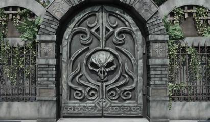 Dungeon door. Details of Halloween decoration at haunted house mansion, big skeleton head on the entrance door.