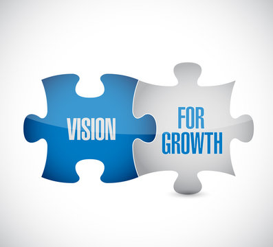 Vision for growth puzzle pieces message concept