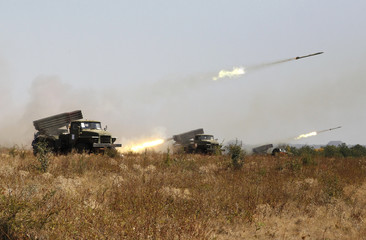 Grad multiple rocket launcher systems of the self-proclaimed Lugansk People's Republic fire during military exercises at a target range in Luhansk Region