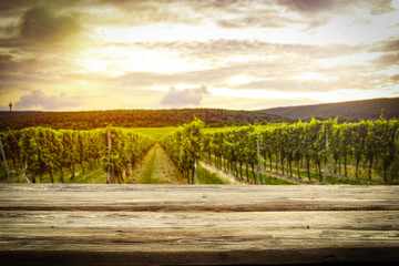 Wall Mural - old rustic table in a beautiful vineyard at sunset