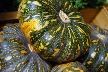 Green and orange pumpkin squash at a farmers market