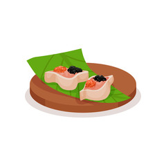Sushi with red and black caviar on green leaf and wooden plate. Delicious Asian snack. Food theme. Flat vector design
