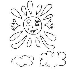 vector, isolated sun character, book coloring pages