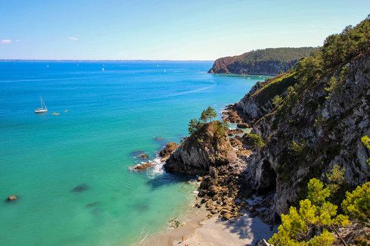 Island Beach Virgin, Morgat, péninsule de Crozon, Finistère, Bretagne, France