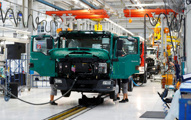 A truck of German truckmaker MAN SE is seen on the assembly line in their plant in Steyer