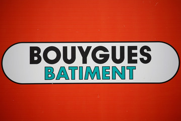 The logo of French construction group Bouygues is pictured in Nantes