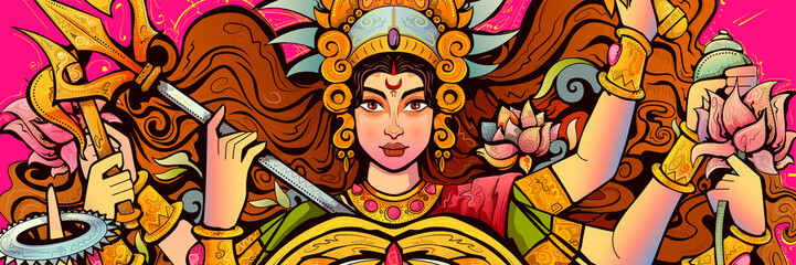 Goddess Durga Face in Happy Durga Puja Subh Navratri background Wall mural