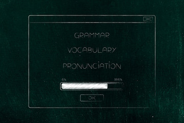 pop-up with grammar vocabulary and pronunciation loading