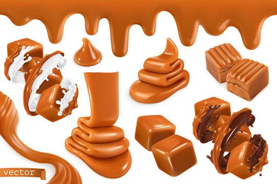 Sweet caramel, set realistic 3d vector illustration