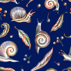 Seamless pattern of snails, grape leaves and berries on a blue background, hand drawing.