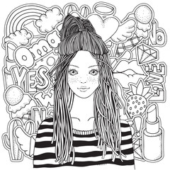 Cool yong girl in a striped sweater. Coloring book page for adult with Fashion Patch Badges in cartoon doodle style. Black and white.