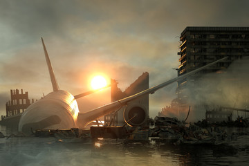 3D Illustration of a Ruins of a city. Apocalyptic landscape. Wall mural