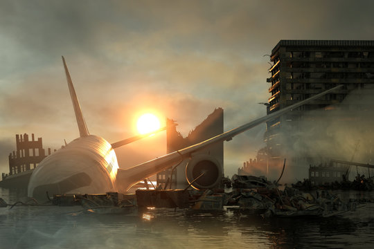 3D Illustration of a Ruins of a city. Apocalyptic landscape.