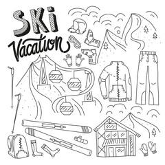Ski equipment in vector, ski kit infographic set, ski vector doodle, hand drawn vector gear, ski clothes set