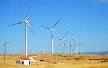 Energía eólica en España, molinos de viento en Tarifa, sur de Europa
