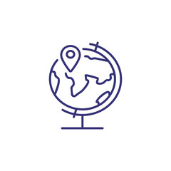 Globe with map pointer line icon. Adventure, direction, place. Education concept. Vector illustration can be used for topics like location, geography, travel