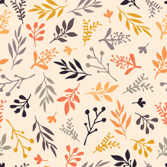Fall leaf seamless vector background. Orange, gold, purple, gray leaves on a beige autumn background. Abstract nature pattern. Simple Doodle leaf print. Thanksgiving, Seasonal, November, fabric, card