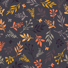 Seamless vector pattern with abstract leaves orange, gold, purple, gray on a dark background. Leaf texture, endless background. For wallpaper, pattern fills, web banners, surface design, Thanksgiving