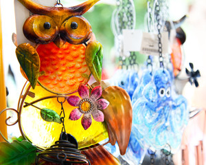 coloured glass decoration of an owl and other novelty gifts