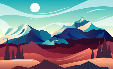 Mountain landscape. horizontal vector illustration
