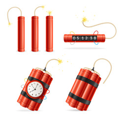 Realistic Detailed 3d Red Detonate Dynamite Bomb Set. Vector