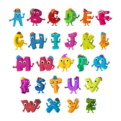 ABC Funny Alphabet Characters. Alive Letters with hats design color set.
