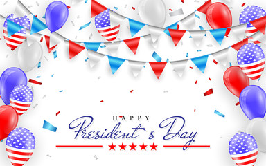 Happy President Day. Hanging Bunting Flags for American Holidays card design. American flag balloons with confetti background. Vector illustration