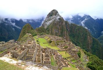 Machu Picchu after the Rain, UNESCO World Heritage Site in Cusco Region, Urubamba Province, Peru