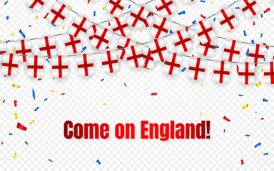 England garland flag with confetti on transparent background, Hang bunting for celebration template banner, Vector illustration