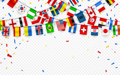 Colorful flags garland of different countries of the europe and world with confetti. Festive garlands of the international pennant. Bunting wreaths. Vector banner for celebration party, conference