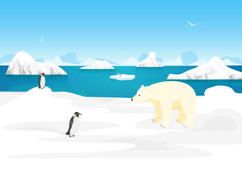 Cartoon Arctic Ice Landscape Outdoor Scene. Vector