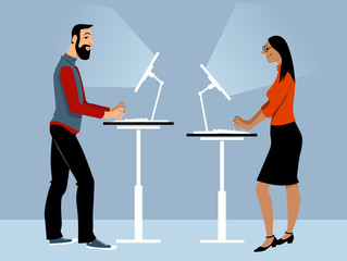Male and female employee working in the office using adjustable standing desk, EPS 8 vector illustration