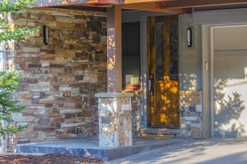 Stone brick entrance with garage Park City